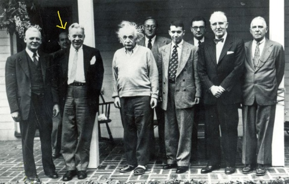 Meeting of the International Advisory Board in 1952 at Princeton. In the photo are members of the Board including Albert Einstein. Hiding in the back, (see arrow) is Professor John von Neumann.