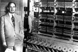 Von Neumann with the first Institute computer