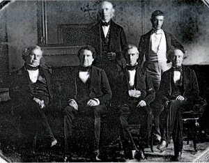 Front row, left to right: John Y. Mason, William L. Marcy, President James K. Polk, Robert J. Walker Back row, left to right: Cave Johnson, George Bancroft Secretary of State James Buchanan is absent.